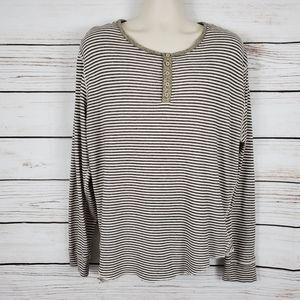 BDG | Striped Button Long Sleeve Henley Shirt